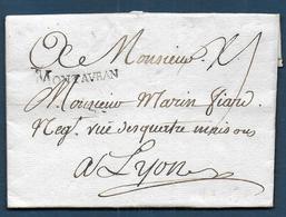 Marque MONTAUBAN  Sur Lettre De 1771 Pour Lyon - Marcophilie (Lettres)