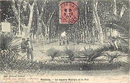 - Hérault -ref-A736- Pezenas - Square Molière Et Le Pré - Carte Bon Etat - - Pezenas