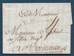 Marque DE MONTAUBAN  Sur Lettre De 1761 Pour Bordeaux - Marcophilie (Lettres)