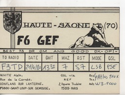 Cpa.Cartes QSL.F6 GEF.White Alain.1980.Haute-Saone. - Radio Amatoriale
