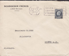 Belgium ED. SCHROEDER, LIEGE 1922 Cover Brief HESS Filzfabrik SPEYER A. Rhein Germany Albert Small Montenez - 1921-1925 Piccolo Montenez