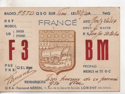 Cpa.Cartes QSL.F3BM.Fernand Mérien.1950.Lorient - Radio Amatoriale