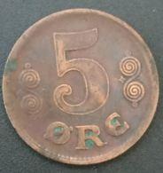 DANEMARK - DENMARK - 5 ORE 1919 - Christian X - KM 814 - Danemark
