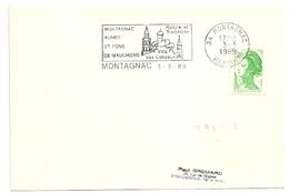 HERAULT - Dépt N° 34 = MONTAGNAC  1989 =  FLAMME SUPERBE = SECAP Illustrée  ' AUMES - ST PONS MAUCHIENS / Vins Coteaux' - Marcophilie (Lettres)