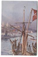 SUBMARINE In Istanbul Color Card C. 1908 - Turkey