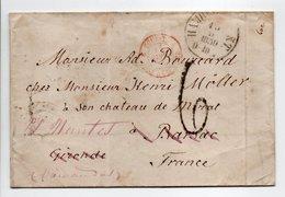 Lettre HAMBURG (Hambourg / Allemagne) Via VALENCIENNES Pour BARSAC Pour NANTES 10 SEPT 1859 - Taxe Munuscrite 6 Décimes - Marcophilie (Lettres)