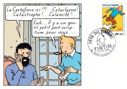 FRANCE :  Tintin Et Le Capitaine Haddock Cachet Fête Du Timbre Saint-Hilaire De Riez 11 03 2000 - Bandes Dessinées