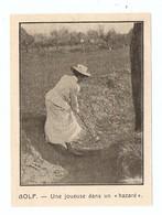 """COUPURE De PRESSE SPORT DÉBUT XX ème SIECLE ANNÉE 1908 - GOLF FEMME WOMAN UNE JOUEUSE DANS UN """" HAZARD """" - Golf"""