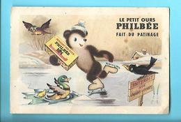 CHROMO--IMAGE--le Petit Ours PHILBEE Fait Du Patinage--le Bon Pain D'épices De DIJON--voir 2 Scans - Snoepgoed & Koekjes