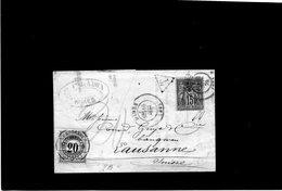 CG24 - Lettera Da Nimes 18/12/1879 Per Losanna - Tassata - 1877-1920: Semi Modern Period