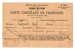 TB 2821 - MILITARIA - Carte En Franchise Militaire - Centre De Mobilisation N° 102 à SAINT - BRIEUC Pour GOUET à PARIS - Marcophilie (Lettres)