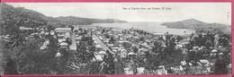 Carte Grand Format Double Vue Panoramique View Of Castries Town And >Harbour St Lucia (sainte Lucie) Ville Et Port - Saint Lucia
