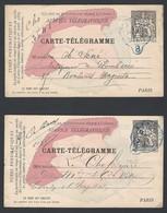 Entier Postal Carte Télégramme X2 Type Chaplain Pneumatiques Paris 30c Noir - Letter Cards