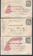 Entier Postal Carte Télégramme X3 Différentes Type Chaplain Pneumatiques Paris 30c Noir Belle Oblitération (lisible) - Entiers Postaux