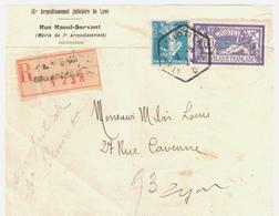 LYON GUILLOTIERE Rhone Lettre Recommandée 60c Merson 25c Bleu Défaut Yv 140 144 Ob 1924 Hexagone RAU Lautier D4 - Covers & Documents