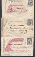 Entier Postal Carte Télégramme X3 Différentes Type Chaplain Pneumatiques Paris 30c Noir - Letter Cards