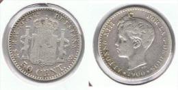 ESPAÑA ALFONSO XIII 50 CENTIMOS PESETA 1900  PLATA SILVERC60 - Colecciones
