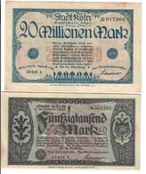 KOLN Colonia  50000 + 20 MILLIONEN MARK 1923 +  LOTTO 1937 - [ 3] 1918-1933 : Repubblica  Di Weimar