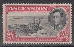 ASCENSION 1938 2/6 BLACK DEEP CARMINE  SG 45  D.13 1/2   MLH - Ascension
