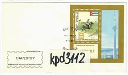 """Sale -  1987 International Stamp Exhibition """"Capex '87"""" - Toronto, Canada  (CTO)  - FDC Cuba - FDC"""