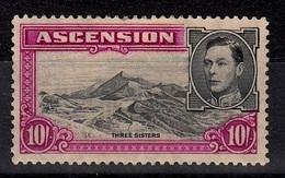 ASCENSION 1938 10/-  BLACK BRIGHT PURPLE SG 47  D.13 1/2   MLH - Ascension