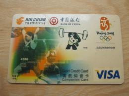 Bank Of China, Air China And Olympic 2008 Visa Sample Card, Weight-lifting - Phonecards