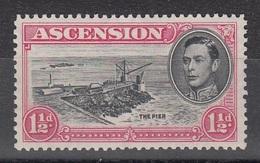 ASCENSION 1938 1 1/2d  BLACK Vermilion SG 40b  D.13   MNH - Ascension