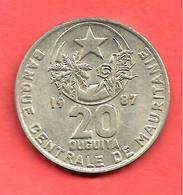 20 Ouguiya , MAURITANIE , Cupro-Nickel , 1987 , N° KM # 5 , SUP - Mauritanië