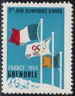 ISERE - GRENOBLE - VIGNETTE DES Xe JEUX OLYMPIQUES D'HIVER - GRENOBLE - FRANCE - 1968. - Sports