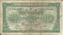 ROYAUME DE BELGIQUE , 10 Francs , 01.02.1943 , N° World Paper Money : 122 - [ 2] 1831-... : Koninkrijk België