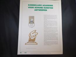 "BELG.1989 2327 FDC Filatelic Gold Card NL. : "" ACADEMIE ANTWERPEN "" - FDC"