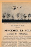 """1954 : Document, NUNGESSER ET COLI, L""""Oiseau Blanc"""", L'avion Marin, Le Bourget, L'embarquement, Le Train D'atterisssage - Alte Papiere"""