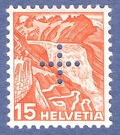 Suisse 1937 _ Administration Fédérale _ Glacier Du Rhone _ 15c Orange _ Gomme Lisse - Officials