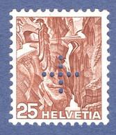 Suisse 1937 _ Administration Fédérale _ Gorge De La Viamala _ 25c Brun _ Gomme Grillée - Officials