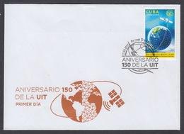 FDC SATÉLITES COSMOS. ANIVERSARIO 150 DE LA UIT. CUBA 2015. EDIFIL 6130 - FDC