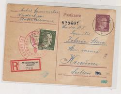 SLOVENIA,GERMANY WW II,1943 Registered Postal Stationery WINDISCHGRAZ SLOVENJ GRADEC To Serbia - Slovénie