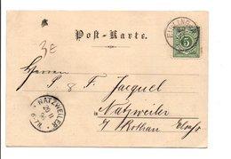 ALLEMAGNE EMPIRE CARTE DE ELSINGEN POUR L'ALSACE 1896 - Germany