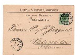 ALLEMAGNE EMPIRE CARTE DE BREMEN POUR L'ALSACE 1896 - Germany