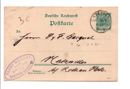 ALLEMAGNE EMPIRE CARTE DE STETTEN POUR L'ALSACE 1891 - Germany