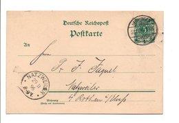 ALLEMAGNE EMPIRE CARTE DE HECHINGEN POUR L'ALSACE 1896 - Germany