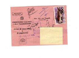 P0347 AVVISO DI RICEVIMENTO 1960 OLIMPIADE L. 25 ISOLATO - 6. 1946-.. Repubblica