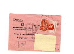 P0348 AVVISO DI RICEVIMENTO 1961 CARAVAGGIO L. 25 ISOLATO - 6. 1946-.. Repubblica