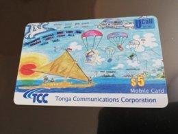 TONGA $5,-  Parachutes   Fine Used Card  ** 1223** - Tonga