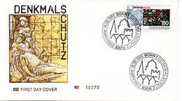 "BRD Schmuck-FDC ""Denkmalschutz"" Mi. 1291 ESSt 14.8.1986 BONN 1 - FDC: Enveloppes"