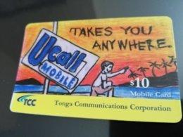 TONGA $10,-  Takes You Anyware   Fine Used Card  ** 1224** - Tonga