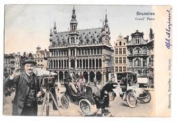 Bruxelles Grand Place Colorisée Montage Photographe Vieilles Voitures Marcovici 1905 - Squares