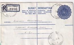 MALAYSIE 1976     ENTIER POSTAL/GANZSACHE/ POSTAL STATIONERY LETTRE RECOMMANDEE DE KUALA TRENGGANO - Malaysia (1964-...)