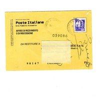 P0357 AVVISO DI RICEVIMENTO 1996 CASTELLI L.750 BOBINE ISOLATO - 6. 1946-.. Repubblica