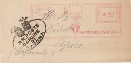 Savona. 1936. Affrancatura Meccanica Rossa SAVONA .25 + Ovale COMUNE DI SAVONA, Su Modulo Comunale - Marcophilie - EMA (Empreintes Machines)