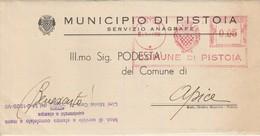 Pistoia. 1941. Affrancatura Meccanica Rossa PISTOIA  0.05 , Su Modulo Comunale - Machine Stamps (ATM)